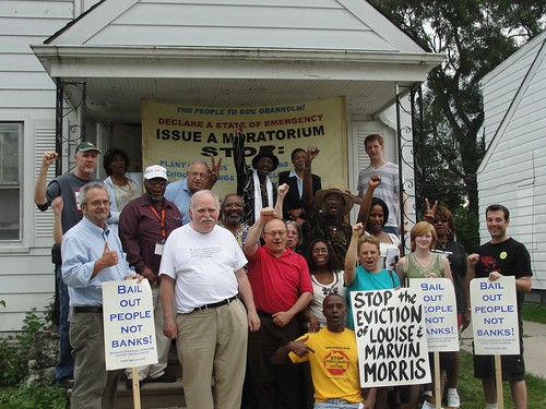 Members and supporters of the Moratorium NOW! Coalition at the home of the Morris' in northwest Detroit. The senior citizens were threatened with foreclosure but have prevailed in their struggle to save their home. (Photo: Bryan Pfeifer) by Pan-African News Wire File Photos