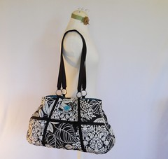 Diaper Bag for Melissa (Geneva Designs) Tags: baby white black leaves bag mom shower team mod geneva turquoise hipster large funky diaper purse gift trendy button huge designs hip etsy custom tote magnetic pockets closure iiw dmask