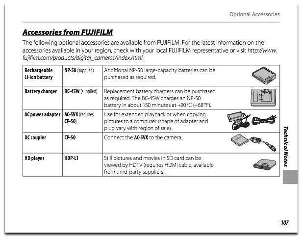 AC-5VX AC power adapter and CP-50 DC coupler accessories, as described on page 121 of the Fuji F300 manual