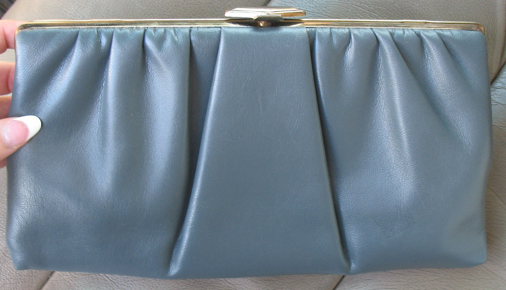Classy Vintage Clutch with Chain Shoulder Strap in Grey Faux Leather Gray by VintageTreasureAngel