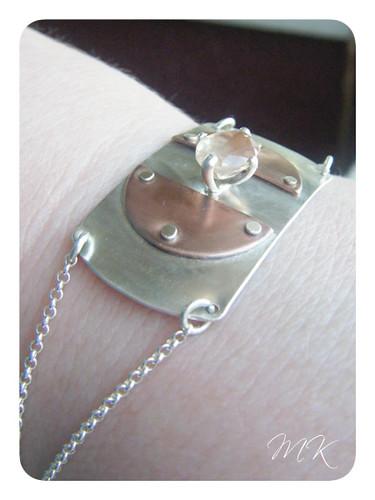 Andesine Labradorite Riveted Bracelet 8