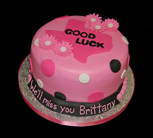 Pink and Black Going Away Cake with polka dots and daisies - Texas