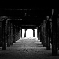 Light at the end of the tunnel... (pbassek) Tags: light white abstract black beach st 35mm pier seaside nikon tunnel lytham end anns f18 blackpool annes stannes fylde d40