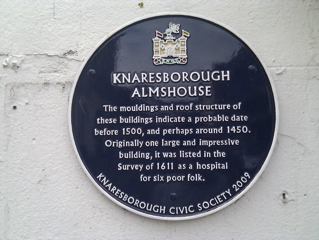 Photo of Knaresborough Almshouse blue plaque