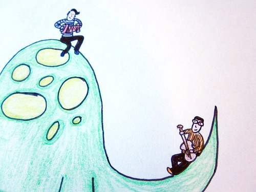 My artwork of They Might Be Giants on a dinosaur.