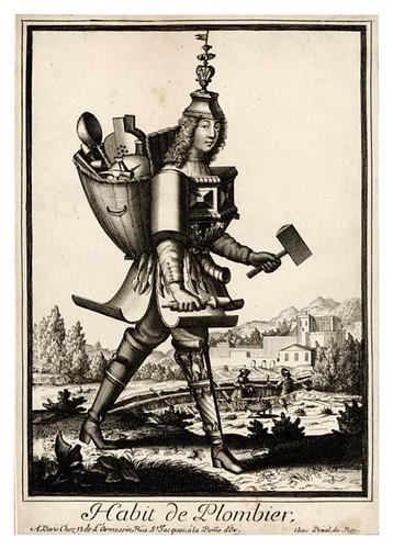044-Vestimenta de fontanero-plomero-Les Costumes Grotesques 1695-N. Larmessin-BNF