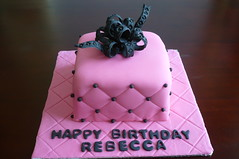 Rebecca's Birthday Cake (Custom Cakes By Liz) Tags: pink black cake bow fondant