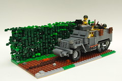M3 Half-track and Bocage (Dunechaser) Tags: usa france army us unitedstates lego military worldwarii american armor ww2 m3 apc normandy invasion diorama halftrack hedgerow allied bocage m3a1 brickarms