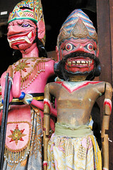 Carved Demons in Ubud (cwgoodroe) Tags: bali chicken blanco birds museum indonesia dancers rice feathers statues peacock carvings patties ubud legong paddies padies