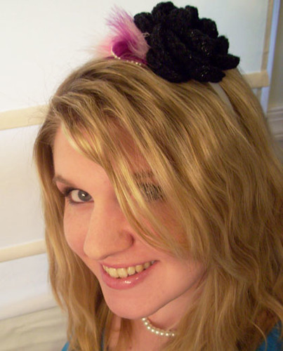 Crochet Flower Headband with Pearls and Feathers