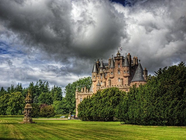 Glamis Castle and Sundial