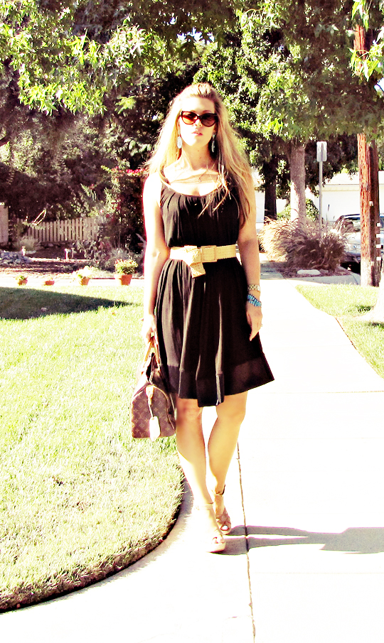 black dress belted+jimmy choos+louis vuitton