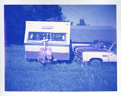 Rams (patrickjoust) Tags: auto camera new blue canada color film analog america truck project polaroid paul focus automobile north rangefinder brunswick v automatic land vehicle instant dodge epson parked 100 manual caravan 500 ram expired camper limited edition range finder impossible hillsborough 430 the bluish v500 autaut giambarba impossibleproject