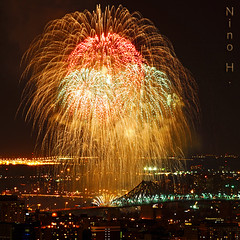 Fireworks in the sky of Montreal (Nino H) Tags: city light canada colors skyline night quebec fireworks montreal couleurs cartier jacques nuit dartifice feux gettyimagescanada