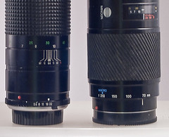 Aperture ring appears on Rokkor lens (left)