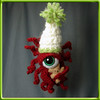 Holiday Red with Teddy11 (UglyGerbil) Tags: california christmas holiday cute monster weird keychain keyring handmade alien crochet ornament eyeball teddybear cthulhu lovecraft octopus unusual christmasornament burlingame amigurumi cthulu tentacles lovecraftian holidayornament eldergod treeornament cthulhubabies cthulubabies cthulhubaby cthulubaby