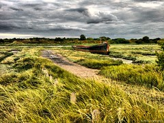 The Barge and Bollards (Wilamber) Tags: sunset sea grass thames river boats evening interesting rust exploring william lord leigh exploration barge bollards chard lordwilliamchard wwwlordwilliamchardcouk