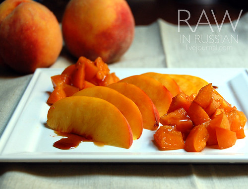 Yellow peach with apricot compote and carob syrup