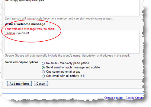 FAIL Google Groups - message is too short - how short March2009
