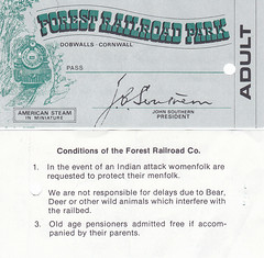 Dobwalls Forest Railway - Ticket from 1980 (trainsandstuff) Tags: cornwall railway dobwalls forestrailway forestrailroad dobwallsforestrailroad dobwallsforestrailway forestrailwayforest railroadcornwallsteamrailwaytrainminiature dobwallsadventurepark