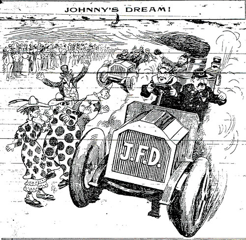 Cartoon of a fire engine racing on a race