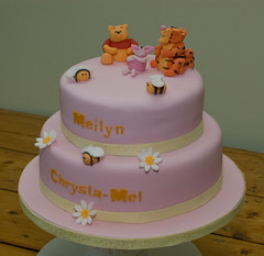 Winnie the Pooh Christening Cake - overall view (Lily Pad Bakery) Tags: cake daisies shropshire telford christening winniethepooh tigger piglet winnie honeybees christeningcake