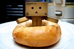 Danbo helps me make my lunch (hector.bruce) Tags: kitchen lunch kettle help surprise bagel danbo