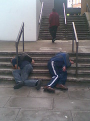 Double nap time!! (yorkshirepuddin) Tags: sleeping drunk stairs funny outdoor sheffield steps strangers drunks asleep railings citycentre daantaan