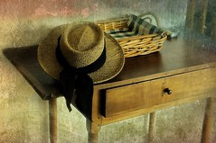 Hat Dance (floralgal) Tags: stilllife texture basket maine kennebunkportmaine strawhat woodtable antiquetable tabletopstilllife basketandhat