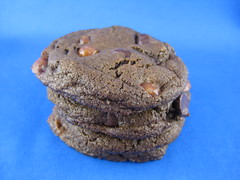 Salted Chocolate Cookies with Chocolate Chips and Caramel Bits