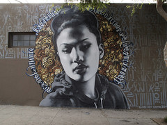 Mac & Retna - La Reina de Thai Town (elmac.net) Tags: portrait art girl graffiti la mac mural large halo hollywood thai awr spraypaint publicart msk ng aerosol themac peruvian elmac ruger uti retna fatcaps montana94 diannegarcia lareinadethaitown