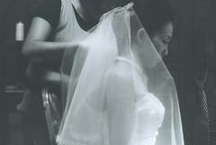 [フリー画像] 人物, 女性, アジア女性, イベント・行事・レジャー, 結婚式, ウエディングドレス, 横顔, モノクロ写真, 201008142100