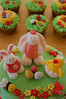 Easter Characters (Little Cottage Cupcakes) Tags: flower bunny cupcakes chick bee caketopper fondant eastercake sugarpaste littlecottagecupcakes