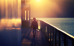 Son in Sun (sparth) Tags: sea sun reflection ferry walking golden evening boat washington son august hour casquette yellows anacortes 70200 goldenhour 2010 frontlight 70200f4l 70200l
