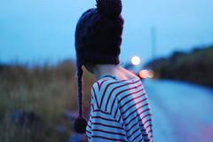 (Ffon) Tags: road dog cars girl hat night lights walk stripes poppy
