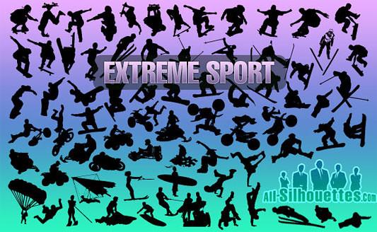 Click en la imagen para descarga 75 Siluetas en formato vector - Deporte extremo