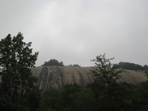 Stone Mountain rises above the trees