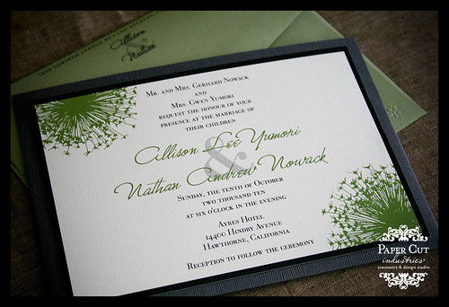 Custom Grey & Green Dandelions Wedding Invitatations in Los Angeles