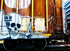 Ich☠ - Rukes Elk - Bobcat (mightyquinninwky) Tags: railroad up logo skeleton skull graffiti hand streak finger tag graf tracks railway tags 2006 yme tagged railcar rails bones unionpacific shield boxcar ladder elk graff bobcat graphiti streaks 06 ich freight stamped gravel whyme bmc ichabod trainart sfl rukes fr8 railart spraypaintart monikers moniker reflectivetape freightcar ichich bobkat boxcarart ichone taggedboxcar paintedboxcar paintedrailcar taggedrailcar