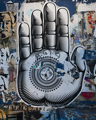 Buddha Palm Paste-Up, CRYPTIK (johnwilliamsphd) Tags: street bw copyright pasteup art public wall architecture john sushi graffiti restaurant la losangeles downtown hand williams district c traction arts fusion zip pv dtla 3rd hewitt  zipfusion lagraffiti losangelesgraffiti williams john johncwilliams graffitide ladtla johnwilliamsphd jasonha phd