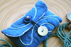 wool felt card pouch, ocean currents