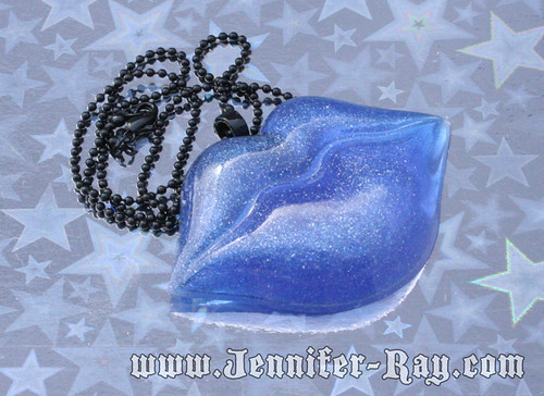 Icy Blue Kiss - Resin Lips Necklace