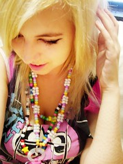 Pretty Rave Girl <3 (bunni[gasm]) Tags: woman brown love girl beautiful hair eyes pretty peace fuzzy unity leg blonde rave warmers raver soother kandi plur fuzzys