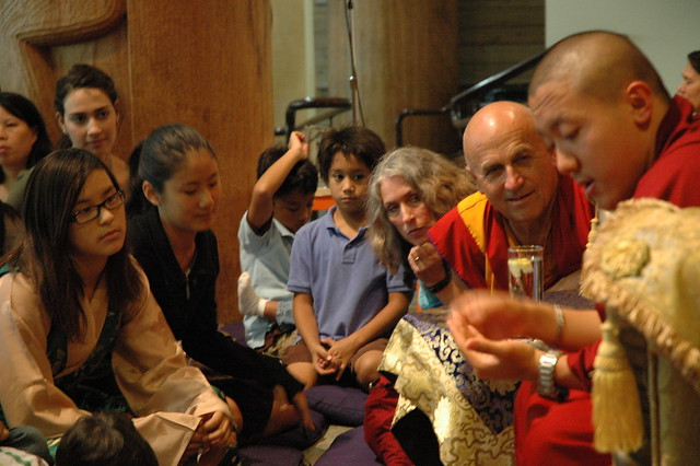 Dilgo Khyentse Yangsi Rinpoche makes a point, Childrens and Young People's Audience and Blessing, Matthieu Ricard, students, Longhouse, Vancouver BC, Lotus Speech Canada