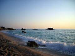 beach view of lefkada island .... (Stunning clickx) Tags: blue sea sky beach nature water beauty island evening sand rocks waves view greece geotag warmwater lefkada