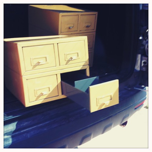 Old card catalog boxes