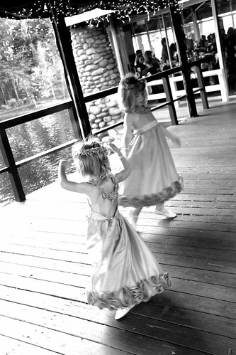 Twirling flower girls.