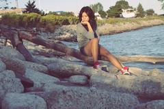 I want to... (reptiLens) Tags: blue sunset red summer portrait sun lake green beach nature water girl rock hair outside shoe log shoes rocks sitting legs skin think leg tan converse sit thinking lakeontario chucks chucktaylor canon50d