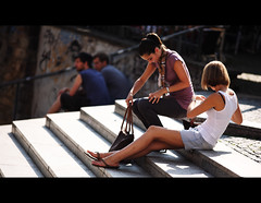 2x2 (graveur8x) Tags: girls boys sun skirt summer hot young people stairs street candid portrait freiburg germany deutschland menschen strase canon canon5d 200mm primepipe streetphotography