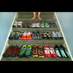 so many shoes...so little time... (1crzqbn) Tags: selfportrait color feet stairs shoes diesel 15 sneakers nike puma adidas northface merrell footfetish fifteen reebok newbalance keen privo shoefe